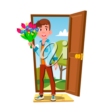 Young Guy In The Open Door With Flowers And Gift Vector. Illustration