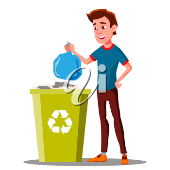 Young Guy Throwing Trash Bags Into Container Vector. Illustration