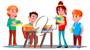 Children Reading Books Together In Library, Education Concept Vector. Reading. Illustration