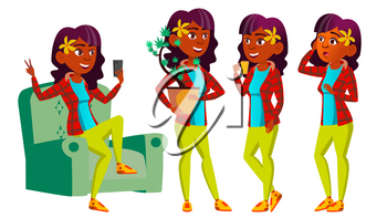 Teen Girl Poses Set Vector. Indian, Hindu. Asian. Emotional, Pose. For Advertising, Placard Print Design Isolated Cartoon Illustration