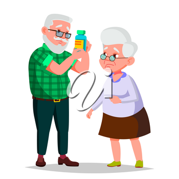 Elderly Couple Vector. Grandfather And Grandmother. Silver Hair. Senior Lady And Gentleman. Isolated Flat Cartoon Illustration