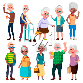 Elderly People Vector. Grandfather And Grandmother. Face Emotions. Happy People. Poses. Black, Afro American, European. Isolated Cartoon Illustration