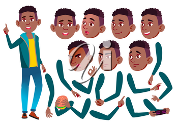 Teen Boy Vector. Black. Afro American. Teenager. Leisure, Smile. Face Emotions, Various Gestures. Animation Creation Set Isolated Flat Cartoon Illustration