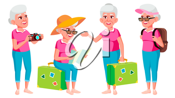 Old Woman Poses Set Vector. Elderly People. Senior Person. Aged. Tourist, Tourism. Caucasian Retiree. Smile. Advertisement Greeting Announcement Design Isolated Cartoon Illustration