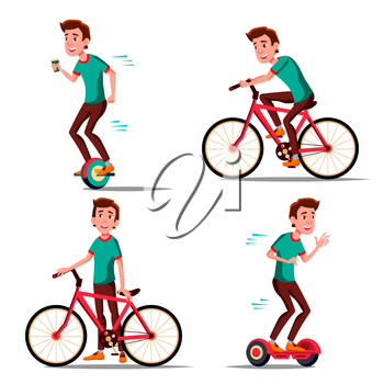 Teen Boy Riding Hoverboard, Bicycle Vector. City Outdoor Sport Activity. Gyro Scooter, Bike. Eco Friendly. Healthy Lifestyle. Illustration