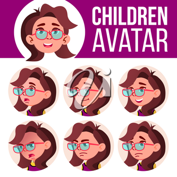 Girl Avatar Set Kid Vector. Primary School. Face Emotions. Emotions, Emotional. Friendly, Weeping Head Illustration