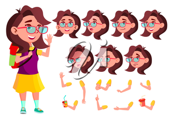 Girl, Child, Kid, Teen Vector. Schoolchildren, Teen. Face Emotions, Various Gestures Animation Creation Set Isolated Flat Cartoon Illustration