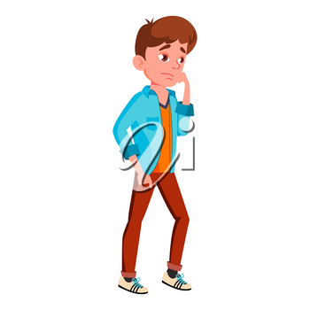 Teen Boy Poses Vector. Positive Person. For Postcard, Cover, Placard Design. Isolated Cartoon Illustration