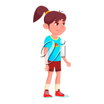 Girl Schoolgirl Kid Poses Vector. High School Child. Child Pupil. Subject, Clever, Studying. For Postcard, Announcement, Cover Design. Isolated Cartoon Illustration