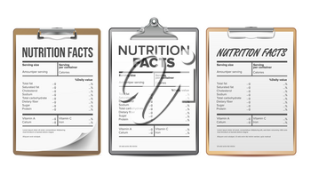 Nutrition Facts Vector. Blank, Template. Diet Calories List. For Box. Food Content. Fat Information. Protein Sport. Grams And Percent Guideline Calories Illustration