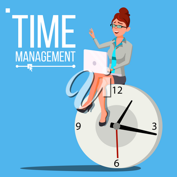 Time Management Woman Vector. Free Time. Control. Management Business Illustration