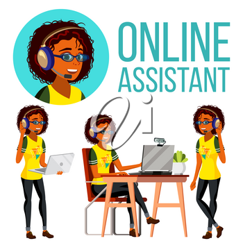 Online Assistant African Woman Vector. Headphone, Headset. Call Center. Technical Support Illustration
