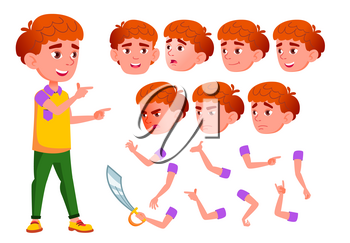 Boy, Child, Kid, Teen Vector. Smile. Cute. Happiness Enjoyment. Face Emotions, Various Gestures Red Head Animation Creation Set Isolated Flat Cartoon Illustration