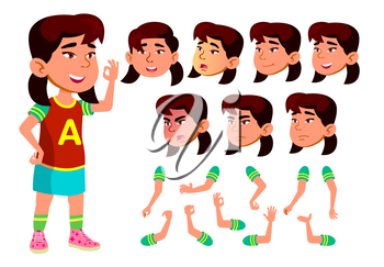 Asian Girl, Child, Kid, Teen Vector. Schoolchild. Face Emotions, Various Gestures. Animation Creation Set Isolated Cartoon Character Illustration