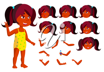 Indian Girl, Child Vector. Joy. Hindu In Water Park. Summer Vacation. Face Emotions, Various Gestures. Animation Creation Set Cartoon Character Illustration