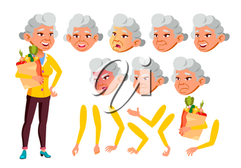 Asian Old Woman Vector. Senior Person. Aged, Elderly People. Activity, Beautiful. Face Emotions, Various Gestures. Animation Creation Set. Isolated Flat Cartoon Illustration