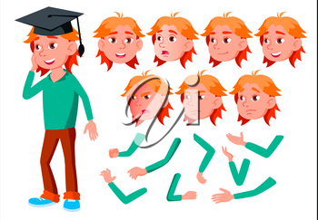 Girl, Child, Kid, Teen Vector. Friend. Clever Positive Person. Face Emotions, Various Gestures. Animation Creation Set. Isolated Flat Cartoon Character Illustration