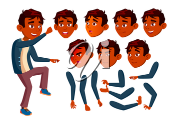 Indian Teen Boy Vector. Teenager. Cute, Comic. Joy. Face Emotions, Various Gestures. Animation Creation Set. Isolated Flat Character Illustration