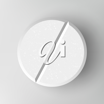 White 3D Medical Pill Or Drug Vector Illustration. Graphic Empty Concept. Realistic Tablet