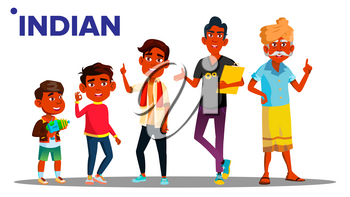 Indian Generation Male People Person Vector. Indian Grandfather, Father, Son, Grandson, Baby Vector. Isolated Illustration