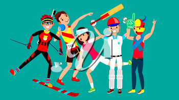 Athlete Set Vector. Man, Woman. Skiing, Athletics, Tennis, Baseball, Fan. Group Of Sports People In Uniform, Apparel Sportsman Character In Game Action Cartoon Illustration