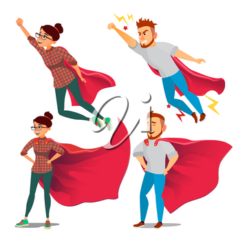 Super Business Woman Character Vector. Red Cape. Leadership Concept. Creative Modern Business Super Woman. Business Woman Flying To Success. Isolated Flat Cartoon Illustration