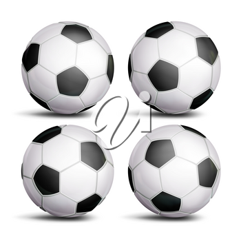 Realistic Football Ball Set Vector. Classic Round Soccer Ball. Different Views. Sport Game Symbol. Isolated
