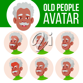 Old Man Avatar Set Vector. Black. Afro American. Face Emotions. Senior Person Portrait. Elderly People. Aged. User, Character Cheer Pretty Cartoon Illustration