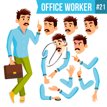 Office Worker Vector. Face Emotions, Gestures. Animation Set. Business Man. Professional Cabinet Workman, Officer, Clerk. Isolated Cartoon Character Illustration