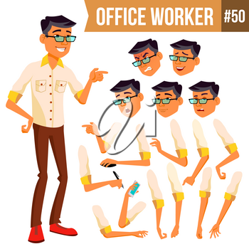 Office Worker Vector. Face Emotions, Various Gestures. Animation. Business Worker. Career. Professional Workman, Officer Clerk Flat Cartoon Illustration