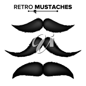 Hair Mustaches Set Vector. Barber Shop. Funny Curly Black Mustache. Isolated On White Illustration
