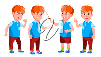 Boy Schoolboy Kid Poses Set Vector. Primary School Child. Funny Children. Junior. Lifestyle, Friendly. For Advertising, Booklet, Placard Design. Isolated Cartoon Illustration