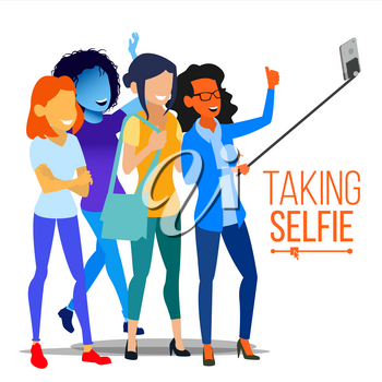 Girls Taking Selfie Vector. Photo Portrait Concept. Self Camera. Modern Isolated People Illustration