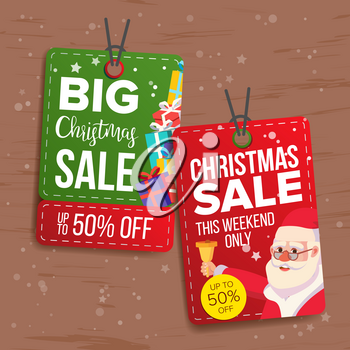 Christmas Sale Tags Vector. Flat Christmas Special Offer Stickers. Santa Claus. Hanging Sale Banners. Half Price. Modern Illustration