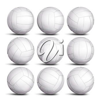 Realistic Volleyball Ball Set Vector. Classic Round White Ball. Different Views. Sport Game Symbol. Isolated