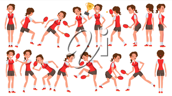 Table Tennis Female Player Vector. Game Match. Silhouettes. Playing In Different Poses. Woman. Athlete Isolated On White Cartoon Character Illustration