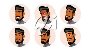 Arab Avatar Icon Man Vector. Saudi, Emirates, Qatar, Uae. Human Emotions. Anonymous Male. Various Expression. Various Head. Isolated Cartoon Character Illustration