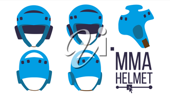 MMA Helmet Vector. Sport Game Equipment Icon. Different View. Boxing Protection Helmet. Isolated Illustration Isolated Flat Illustration