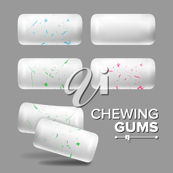 White Chewing Gums Vector. Realistic Chewing Gum. Red, Green, Blue Inclusions. Isolated Illustration