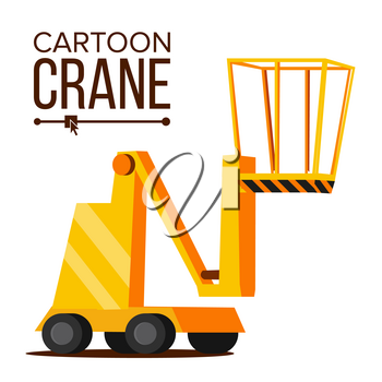 Lift Crane Vector. Lifting Construction Machine Icon. Classic Yellow Isolated Flat Cartoon