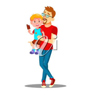 Father And Son Enjoy Eating Ice Cream Vector. Illustration