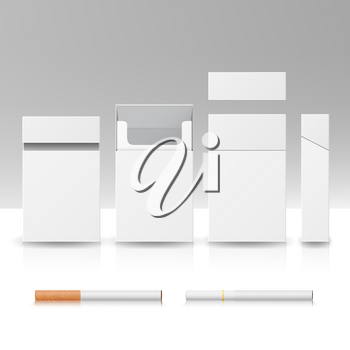Blank Pack Package Box Of Cigarettes 3D Vector Realistic