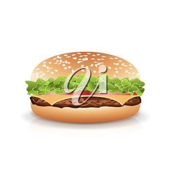 Fast Food Realistic Popular Burger Vector. Photo Realistic Illustration Of The Double Cheeseburger Isolated On White Background.