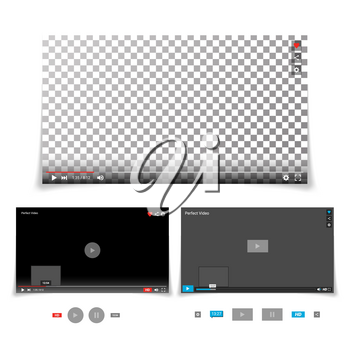 Video Player Interface Template Vector. With Progress Bar And Control Buttons Full Screen, Volume