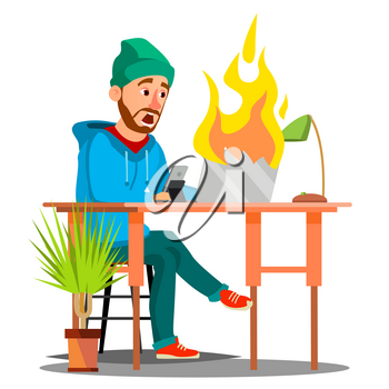 Scared Employees Sitting At The Table And Burning With Fire Laptop Vector. Illustration