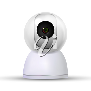 Indoor Stylish Home Video Online Camera Vector. Modern Surveillance Camera For Recording And Watching Along Domestic Animal. Device For Control Situation In Realistic 3d Illustration