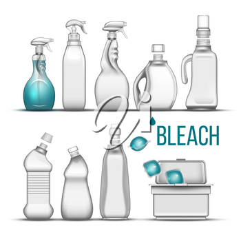 Plastic Bottle For Bleach Detergent Set Vector. Different Bottle With Cap, Atomizer Spray And Container Box For Cleaning Substance, Scour And Liquid Soap. Realistic 3d Illustration,