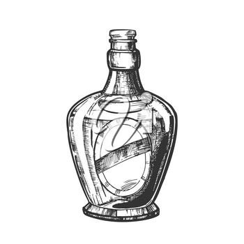Blown Scotch Bottle With Style Cork Cap Vector. Black and White Hand Drawn Sketch Bottle Of Traditional Alcoholic Beverage. Concept Monochrome Modern Flask With Blank Label Cartoon Illustration