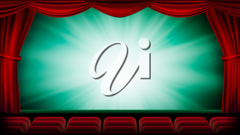 Theater Curtain Vector. Theater, Opera Or Cinema Scene. Green Background. Banner, Placard, Poster Design Template Illustration