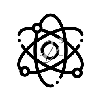 Atom Nucleus And Electron Vector Thin Line Icon. Atom, Organic Cosmetic, Nature Component Linear Pictogram. Eco-friendly, Cruelty-free Product, Molecular Analysis Contour Illustration